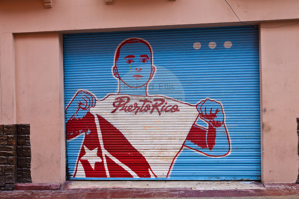 Pro-independence painting on a wall in Old San Juan, Puerto Rico
