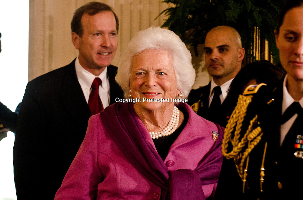 Former first lady Barbara Bush during a ceremony to award the Medal of Freedom to Stan Musial and others in the East Room of the White House in Washington DC on February 15, 2011. Photo by Kris Connor