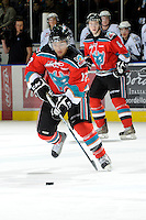 KELOWNA, CANADA, OCTOBER 22:  Tyrell Goulbourne #12 of the Kelowna Rocketes skates with the puck as the Victoria Royals visited the Kelowna Rockets on October 22, 2011 at Prospera Place in Kelowna, British Columbia, Canada (Photo by Marissa Baecker/shootthebreeze.ca) *** Local Caption *** Tyrell Goulbourne;