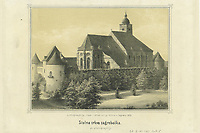 Stolna crkva zagrebačka : po photographiji / Julije Huehn. <br /> <br /> ImpresumZagreb : Julije Huehn, 1860.<br /> Materijalni opis1 grafika : litografija ; 195 x 255 mm.<br /> AutorHühn, Julius<br /> OpisPrikaz zagrebačke katedrale s romaničkim tornjem, kulama i ziđem koji ju okružuju<br /> Vrstavizualna građa • grafike<br /> ZbirkaGrafička zbirka NSK • Zbirka grafika 19. stoljeća<br /> Formatimage/jpeg<br /> PredmetZagreb<br /> Katedrala Uznesenja Marijina (Zagreb)<br /> SignaturaGZGH 360 huh 1<br /> Obuhvat(vremenski)19. stoljeće<br /> NapomenaSignatura ispod prikaza otisnuta: Litographija, tisak i sklad Julija Huhn-a u Zagrebu 1860.<br /> PravaJavno dobro<br /> Identifikatori000599205<br /> NBN.HRNBN: urn:nbn:hr:238:729636 <br /> <br /> Izvor: Digitalne zbirke Nacionalne i sveučilišne knjižnice u Zagrebu