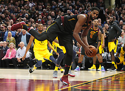April 29, 2018 - Cleveland, OH, USA - Cleveland Cavaliers center Tristan Thompson tries to balance to keep from falling out of bounds against the Indiana Pacers in the fourth quarter of Game 7 of the Eastern Conference First Round series on Sunday, April 29, 2018 at Quicken Loans Arena in Cleveland, Ohio. The Cavs won the game, 105-101. (Credit Image: © Leah Klafczynski/TNS via ZUMA Wire)