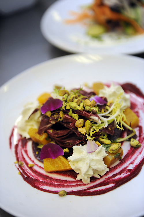 A beet carpaccio salad, one of the dishes featured by Zebra Bistro Chef Brendan Pelley during March's Dine Out Boston event, Feb. 18, 2014.<br /> Wicked Local staff photo/Kate Flock