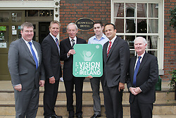 """PRESS RELEASE <br />Jason Smyth and Minister Leo Varadkar launch Vision Sports Ireland.  <br />Thursday, 19 September, Dublin.<br />Four time Paralympic gold medallist and World Champion, Jason Smyth, and Minister for Transport, Tourism & Sport, Leo Varadkar, today launched Vision Sports Ireland at a reception in central Dublin. Formerly Irish Blind Sports, the organisation has been renamed and rebranded to mark its 25th anniversary and to reflect the needs of its members. <br /><br />Pictured at the  launched Vision Sports Ireland at a reception in central Dublin. Formerly Irish Blind Sports, the organisation has been renamed and rebranded to mark its 25th anniversary and to reflect the needs of its members.<br />Were life to right<br />Martin Conway, Clare Senator and Seanad Spokesperson on Disability. <br />Senator Eamonn Coghlan.<br />Robert Dobbyn, Chairperson Vision Sports Ireland.<br />Jason Smyth, Paralympic Double Gold Sprinter.<br />Minister Leo Varadkar.<br />Michael Clark, Vision Sports Ireland.<br /><br />Speaking at the opening Minister Varadkar said: """"This is the start of a new era for vision impaired sports people in Ireland and I congratulate Vision Sports Ireland for reaching out to the community. Sport can, and should, be open to everyone, and I know that this organisation is striving to provide access to activities right across the country. The Government continues to support this area and awarded €36,000 to Vision Sports Ireland through the Sports Council this year, in addition to support for elite athletes through Paralympics Ireland.""""<br />Vision Sports Ireland assists vision impaired people in Ireland, of all ages, to access sports at all levels, from leisure to elite, in their own communities where possible. The Organisation offers a range of sports, including tandem cycling, football, swimming, golf and athletics and hosts, both,  national and international competitions. <br />Senator Eamonn Coghlan, a valued supporter of Vision Sports Irel"""