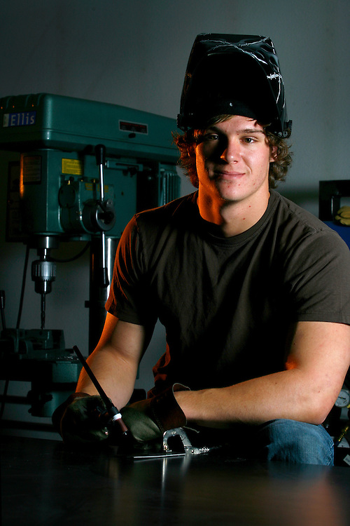 EVERGREEN, CO - NOVEMBER 19:Evergreen High School senior and metal sculptor Cameron Vogel poses for a portrait inside the metal shop where he grew up watching his father work on cars Friday, Nov. 19, 2010 at his home in Evergreen..Photo By Matthew Jonas/Evergreen Newspapers/Photo Editor