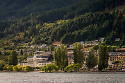 Waterfront of Lake Wakatipu and town of Queenstown, South Island, New Zealand