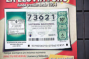 Close up of single national lottery ticket, Seville, Spain