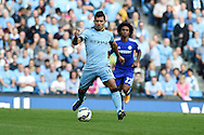 Manchester city 's Sergio Aguero in action.Barclays premier league match, Manchester city v Chelsea at the Etihad stadium in Manchester,Lancs on Sunday 21st Sept 2014<br /> pic by Andrew Orchard, Andrew Orchard sports photography.