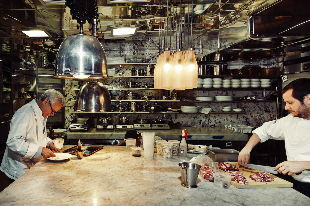 Photos of food and interiors at Bouley restaurant in New York