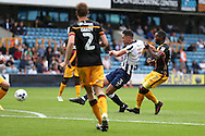 Joe Martin of Millwall shoots to score his sides 1st goal to make it 1-1. EFL Skybet football league one match, Millwall v Bradford city at The Den in London on Saturday 3rd September 2016.<br /> pic by John Patrick Fletcher, Andrew Orchard sports photography.