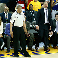 04 June 2017: referee Tony Brothers (25) is seen next to Cleveland Cavaliers head coach Tyronn Lue during the Golden State Warriors 132-113 victory over the Cleveland Cavaliers, in game 2 of the 2017 NBA Finals, at the Oracle Arena, Oakland, California, USA.