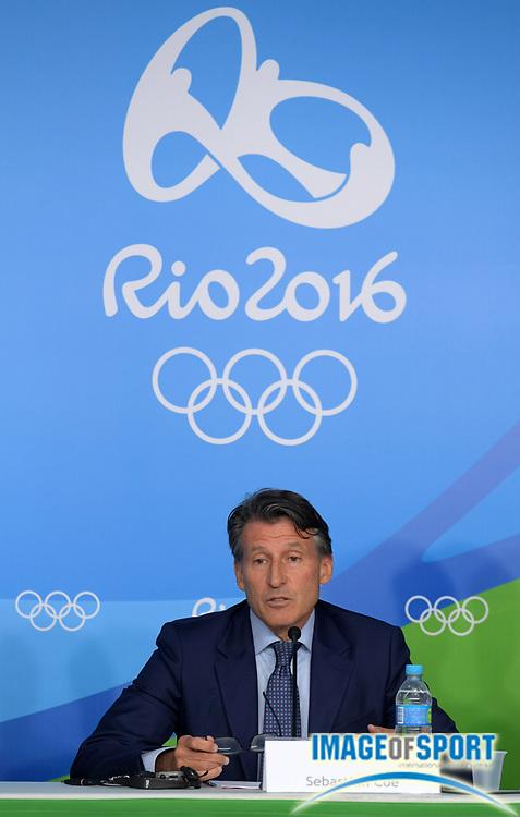 Aug 20, 2016; Rio de Janeiro, Brazil; IAAF president Sebastian Coe (GBR) during the 2016 Rio Olympics at Estadio Olimpico Joao Havelange. <br /> <br /> *