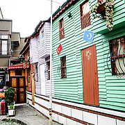 Painted wooden facades to depict how the traditional wooden houses of Istanbul, many of which are now disappearing, might have looked originally.