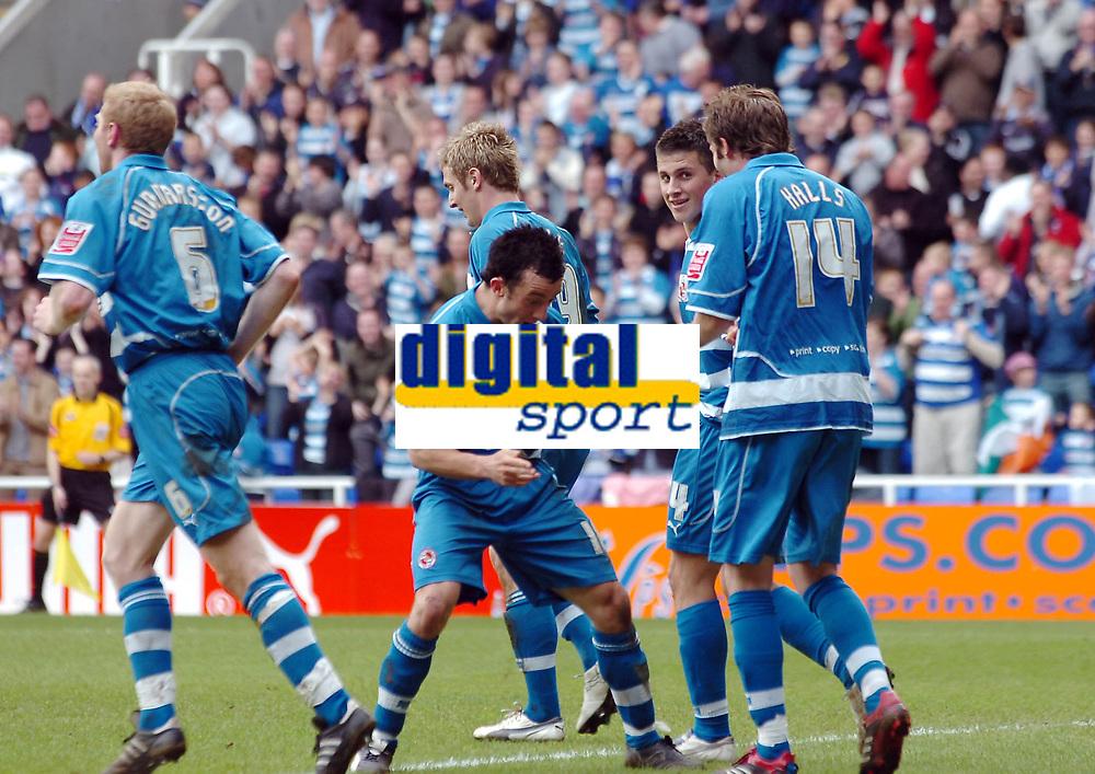 Photo: Kevin Poolman.<br />Reading v Stoke City. Coca Cola Championship. 17/04/2006. Reading players celebrate John Halls goal.