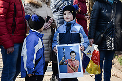 January 28, 2018 - Haskovo, Sofia, Bulgaria - Bulgaria's Grigor Dimitrov gives open tennis lessons to children at his hometown of Haskovo, Bulgaria before the DIEMA XTRA Sofia Open 2018. Hundreds children and fans comes to the town central tenis court to receive signature and to take a picture with the 3rd of world men's tennis, Haskovo, Bulgaria on January 28, 2018  (Credit Image: © Hristo Rusev/NurPhoto via ZUMA Press)