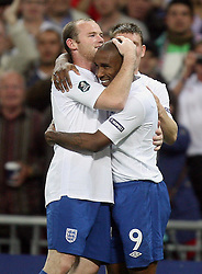 04.09.2010, Wembley Stadium, London, ENG, UEFA Euro 2012 Qualification, England v Bulgaria, im Bild Jermain Defoe of England makes 2-0 with his second goal   and celebrates with Wayne Rooney of England. EXPA Pictures © 2010, PhotoCredit: EXPA/ IPS/ Marcello Pozzetti +++++ ATTENTION - OUT OF ENGLAND/UK +++++ / SPORTIDA PHOTO AGENCY