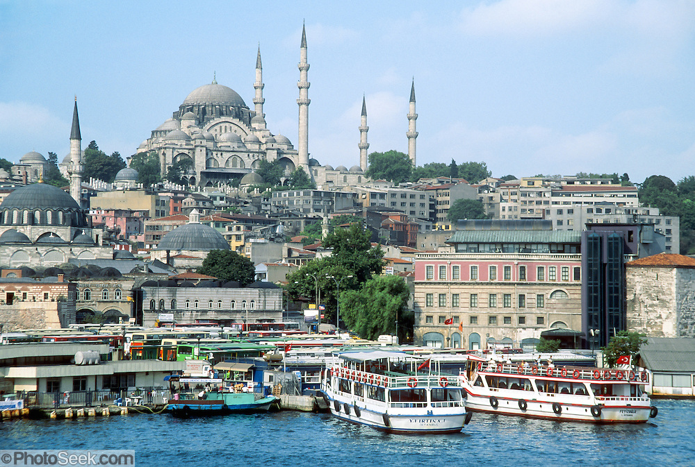 """Architect Sinan, who wanted to exceed the grandeur of Hagia Sofia Cathedral, built Süleymaniye Imperial Mosque on Golden Horn harbor from 1550-1557. Süleyman and his wife are buried here. In the West, he is known as Suleiman the Magnificent. In the Islamic world, he is known as the Lawgiver (in Turkish """"Kanuni""""; making his formal Turkish name of Kanuni Sultan Süleyman), because he completely reconstructed the Ottoman legal system. This image is from İstanbul, in the Republic of Turkey."""