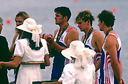 Atlanta, USA. GBR M4- Awards dock presentaion of the Silver medal to the GBR M4-  right  Rupert OBHOLZER, Jonny SEARLE, Greg SEARLE and stroke, Tim FOSTER. 1996 Olympic Rowing Regatta Lake Lanier, Georgia, USA.  [Mandatory Credit Peter Spurrier/ Intersport Images]