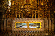A statue of the body of Jesus Christ set in a beautiful gold glass sided casket on the 29th of October 2019, inside the Church of Sao Roque or Igreja de Sao Roque, Lisbon, Portugal (photo by Andrew Aitchison / In pictures via Getty Images)