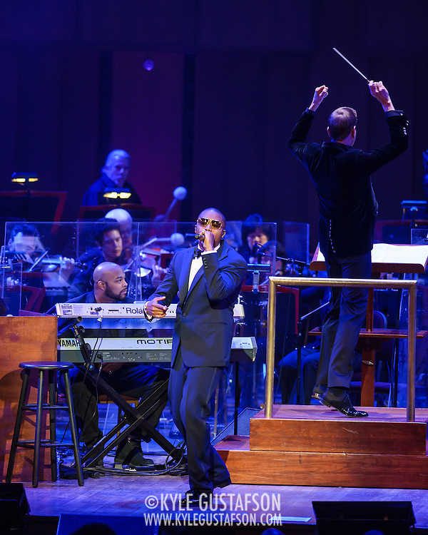 """WASHINGTON, DC - March 28th, 2014 - Rapper Nas performs his classic debut album Illmatic with the National Symphony Orchestra at the Kennedy Center in Washington, D.C. The performance was part of the """"One Mic: Hip-Hop Culture Worldwide"""" festival. (Photo by Kyle Gustafson / For The Washington Post)"""