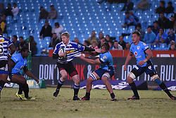 WP's Scot van Breda is tackled by Bull's Burger Odendaal during the Absa Currie Cup match between the Blue Bulls and DHL Western Province held at Loftus Versfeld stadium, Pretoria, South Africa on the 5th August 2016Photo by:   Real Time Images