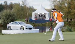 27.09.2015, Beckenbauer Golf Course, Bad Griesbach, GER, PGA European Tour, Porsche European Open, im Bild Jubel von Sieger Thongchai Jaidee (THA) // Winner Thongchai Jaidee (THA) celebrates during the European Tour, Porsche European Open Golf Tournament at the Beckenbauer Golf Course in Bad Griesbach, Germany on 2015/09/27. EXPA Pictures © 2015, PhotoCredit: EXPA/ JFK