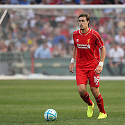Sebastián Coates, Liverpool, in action during the Liverpool Vs AS Roma friendly pre season football match at Fenway Park, Boston. USA. 23rd July 2014. Photo Tim Clayton