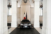 L'auto utilizzata dal Presidente del Consiglio parcheggiata all'interno di Palazzo Chigi. Roma 22 luglio 2014.  Christian Mantuano / OneShot <br /> <br /> The Italian prime minister car parked inside the court of Palazzo Chigi, Rome July 22, 2014. Christian Mantuano / OneShot