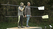 18/03/2004 River and Rowing Museum. Statues of Matt Pinsent and Steve Redgrave over looking the car park. Redgrave left.[Mandatory Credit: Peter Spurrier: Intersport Images].