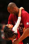 TORONTO, ON - FEBRUARY 14:  Kobe Bryant #24 of the Los Angeles Lakers and the Western Conference warms up with daughter Gianna Bryant during the NBA All-Star Game 2016 at the Air Canada Centre on February 14, 2016 in Toronto, Ontario. NOTE TO USER: User expressly acknowledges and agrees that, by downloading and/or using this Photograph, user is consenting to the terms and conditions of the Getty Images License Agreement.  (Photo by Elsa/Getty Images)