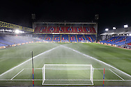 a General view of inside Selhurst Park as the pitch is watered a few hours before k/o. Emirates FA Cup 3rd round replay match, Crystal Palace v Bolton Wanderers at Selhurst Park in London on Tuesday 17th January 2017.<br /> pic by John Patrick Fletcher, Andrew Orchard sports photography.