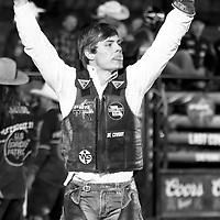 CHEYENNE, WY - JULY 26: Eli Vastbinder celebrates following his ride of bull Chanler's Dream during the Professional Bull Riders Last Cowboy Standing on July 26, 2021, at the Cheyenne Frontier Days, Cheyenne, WY. (Photo by Chris Elise)