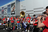 The Barry Horns group perform outside the stadium before k/o. . Euro 2016 qualifying match, Wales v Israel at the Cardiff city stadium in Cardiff, South Wales on Sunday 6th Sept 2015.  pic by Andrew Orchard, Andrew Orchard sports photography.