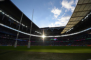 a general view as the Sun shines through Wembley Stadium during the 1st half, the match was played in front of a new record attendance for a RWC match. Rugby World Cup 2015 pool D match, Ireland v Romania at Wembley Stadium in London on Sunday 27th September 2015.<br /> pic by John Patrick Fletcher, Andrew Orchard sports photography.