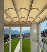 Architecture, panoramic veranda of a modern villa, top view
