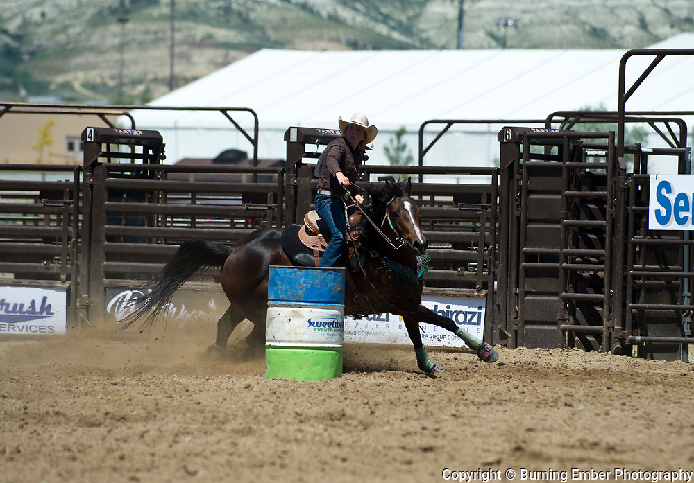 Lacy Eckhadt in the Barrel Thursday 1st round event at the Wyoming State High School Finals Rodeo in Rock Springs Wyoming.  Photo by Josh Homer/Burning Ember Photography.  Photo credit must be given on all uses.