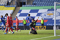 Football - 2020 / 2021 Premier League - Leicester City vs Liverpool - King Power Stadium<br /> <br /> Liverpool's Alisson Becker protests as Leicester City's Daniel Amartey equalises - the goal was disallowed for offside then overturned on review.<br /> <br /> COLORSPORT/ASHLEY WESTERN