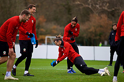 CARDIFF, WALES - Monday, November 19, 2018: Wales' captain Ashley Williams (L) and Gareth Bale during a training session at the Vale Resort ahead of the International Friendly match between Albania and Wales. (Pic by David Rawcliffe/Propaganda)