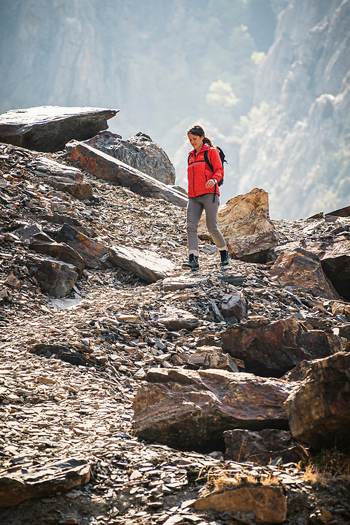 Ruth Arevalo hiking beneath Storm Mountain, Big Cottonwood Canyon, Utah.