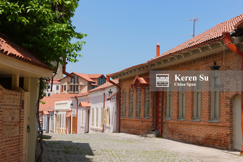 Traditional houses and cobbled street, Sighnaghi, Georgia