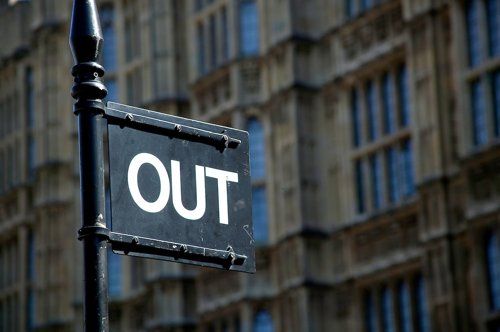 'Out' sign outside Palace of Westminster