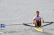 Marathon, GREECE,  GRE M1X, Ioannis CHRISTOU  sculls semi final A/B, at the FISA European Rowing Championships.  Lake Schinias Rowing Course, FRI 19/09/2008  [Mandatory Credit Peter Spurrier/ Intersport Images] , Rowing Course; Lake Schinias Olympic Rowing Course. GREECE