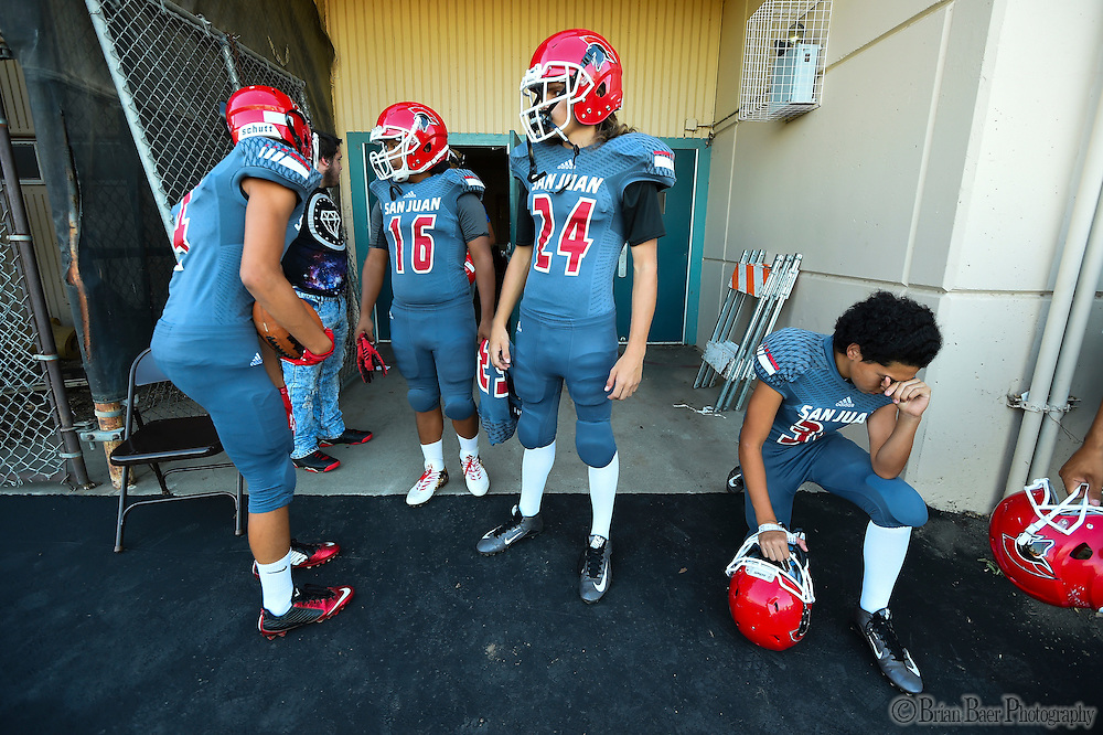 The San Juan Spartans come out of the locker room before the game as the San Juan Spartans host the Mira Loma Matadors, Friday Sep 16, 2016.<br /> photo by Brian Baer