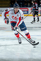 KELOWNA, CANADA - OCTOBER 16: Joshua Derko #28 of the Lethbridge Hurricanes warms up against the Kelowna Rockets on October 16, 2013 at Prospera Place in Kelowna, British Columbia, Canada.   (Photo by Marissa Baecker/Shoot the Breeze)  ***  Local Caption  ***