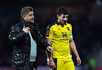 Football - 2018 / 2019 FA Cup - Third Round: Brentford vs. Oxford United<br /> <br /> Oxford United head coach Karl Robinson leaves the pitch at half time with John Mousinho, at Griffin Park.<br /> <br /> COLORSPORT/ASHLEY WESTERN