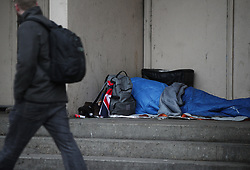 "File photo dated 07/02/2017 of a homeless person sleeping rough in a doorway in Farringdon, London as spiralling homelessness and housing shortages will continue for years to come after a ""lack of ambition"" in government to resolve the crisis, according to a damning report."