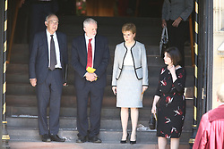 © Licensed to London News Pictures. 22/05/2018. Manchester, UK. Picture shows Vince Cable, Jeremy Corbyn & Nicola Sturgeon at the memorial service at Manchester cathedral. Today marks the first anniversary of the Manchester Arena bombing. 22 people died when Salman Abedi detonated a bomb at an Ariana Grande concert. Photo credit: Andrew McCaren/LNP