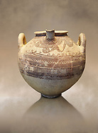 Mycenaean spouted clay pithos decorated with spirals and bands, Grave VI, Grave Circle A, Mycenae 16-15 Cent BC. National Archaeological Museum Athens. Cat No 8580 .<br /> <br /> If you prefer to buy from our ALAMY PHOTO LIBRARY  Collection visit : https://www.alamy.com/portfolio/paul-williams-funkystock/mycenaean-art-artefacts.html . Type -   Athens    - into the LOWER SEARCH WITHIN GALLERY box. Refine search by adding background colour, place, museum etc<br /> <br /> Visit our MYCENAEN ART PHOTO COLLECTIONS for more photos to download  as wall art prints https://funkystock.photoshelter.com/gallery-collection/Pictures-Images-of-Ancient-Mycenaean-Art-Artefacts-Archaeology-Sites/C0000xRC5WLQcbhQ