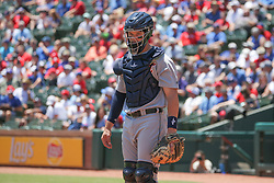 May 9, 2018 - Arlington, TX, U.S. - ARLINGTON, TX - MAY 09: Detroit Tigers catcher Grayson Greiner (17) looks to the dugout for a signal during the game between the Detroit Tigers and the Texas Rangers on May 9, 2018 at Globe Life Park in Arlington, TX. (Photo by George Walker/Icon Sportswire) (Credit Image: © George Walker/Icon SMI via ZUMA Press)