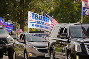 26 SEPTEMBER 2020 - DES MOINES, IOWA: A motorcade supporting the reelection of President Donald J. Trump drives through the Capitol neighborhood of Des Moines. The historic Polk County Courthouse is in the background. More than 1,500 people in 500 vehicles participated in motorcade through Des Moines Saturday. They started in the suburbs south of downtown, drove through downtown, and ended at the State Capitol.       PHOTO BY JACK KURTZ