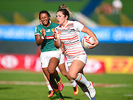 England's Amy Wilson-Hardy makes a break down the sideline on her way to a try  during the Emirates Dubai rugby sevens match between England  and Brazil  at the Sevens Stadium, Al Ain Road, United Arab Emirates on 1 December 2016. Photo by Ian  Muir.*** during the Emirates Dubai rugby sevens match between *** and ***  at the Sevens Stadium, Al Ain Road, United Arab Emirates on 1 December 2016. Photo by Ian  Muir.